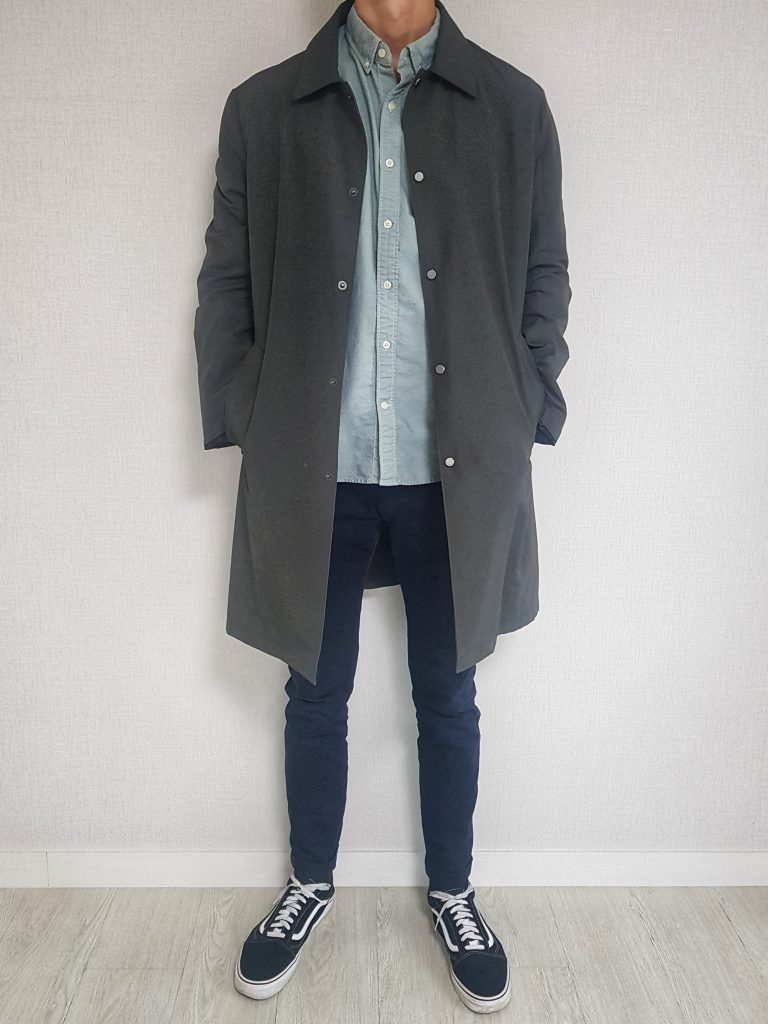 Mac coat with chinos and oxford shirt
