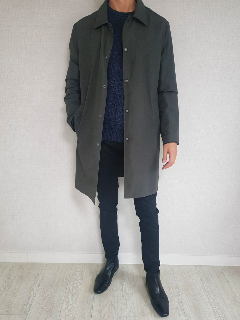 Mac coat with Chelsea Boots and Sweater