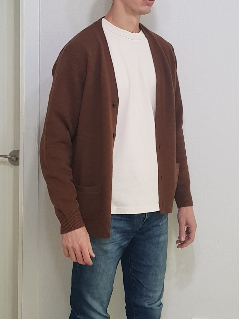 Brown Cardigan Off-White T-shirt