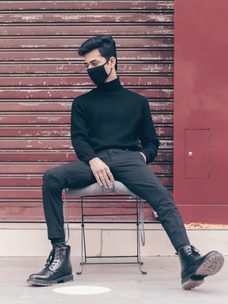 Black Turtleneck and Black Trousers