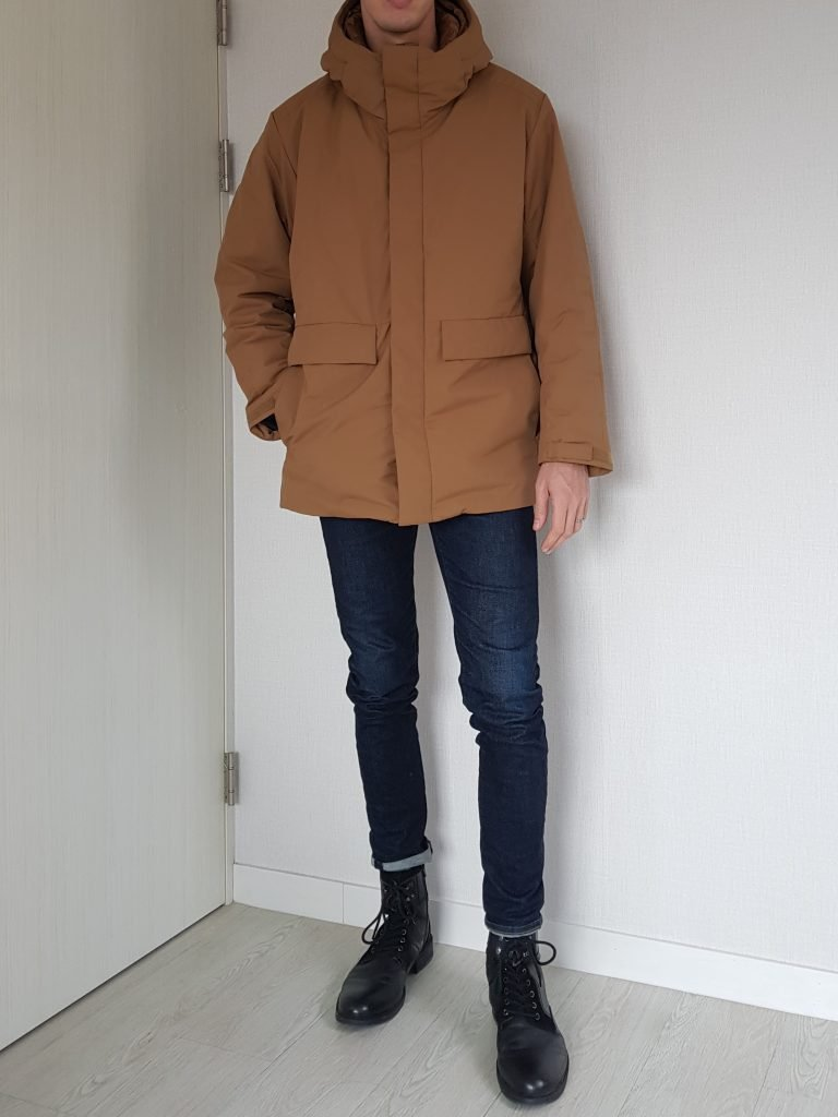 Parka With Indigo Jeans and Boots