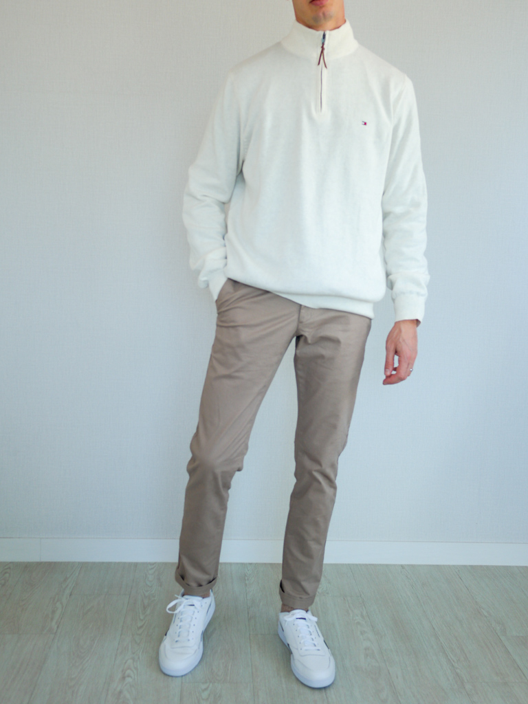 Beige Chinos White Sweater Sneakers