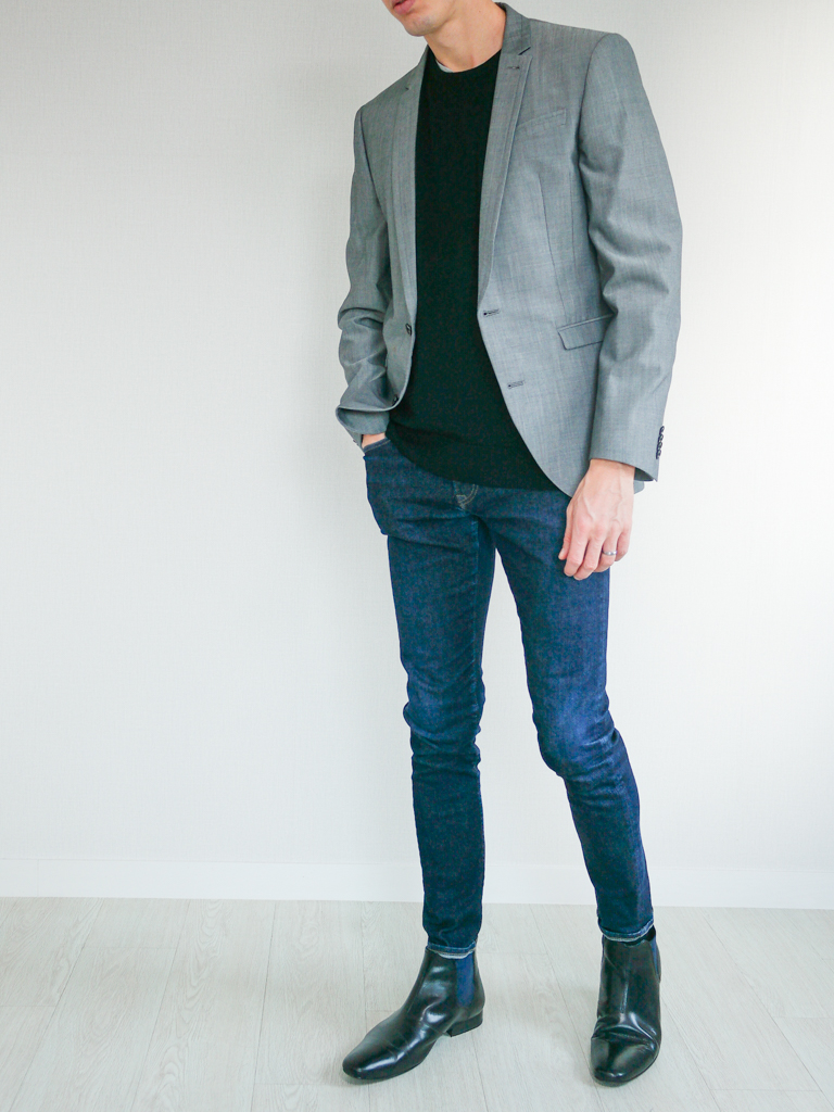 Black Sweater gray blazer jeans
