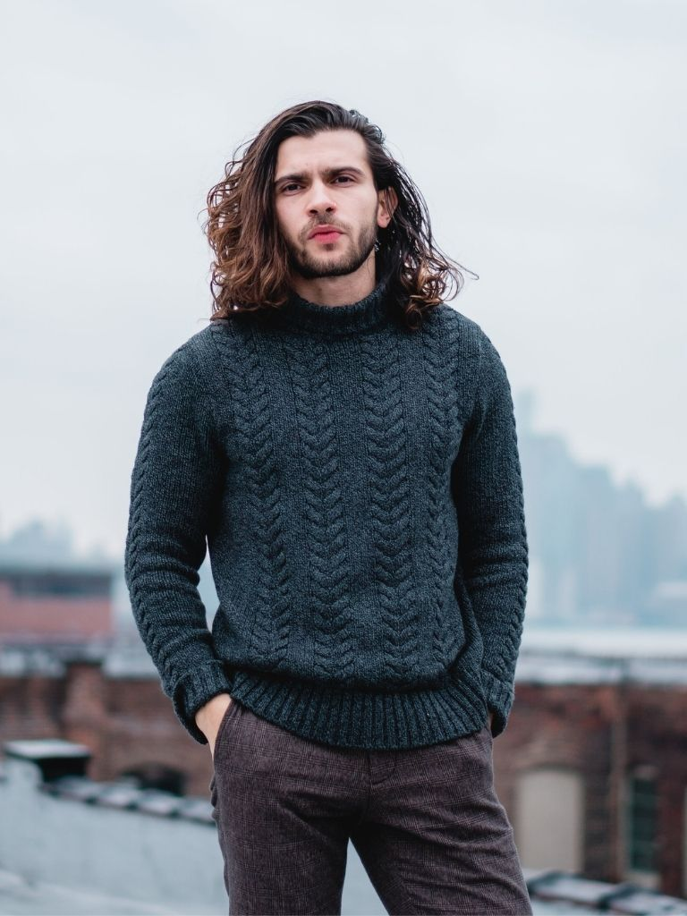 Chunky Turtleneck Sweater Thick Pants
