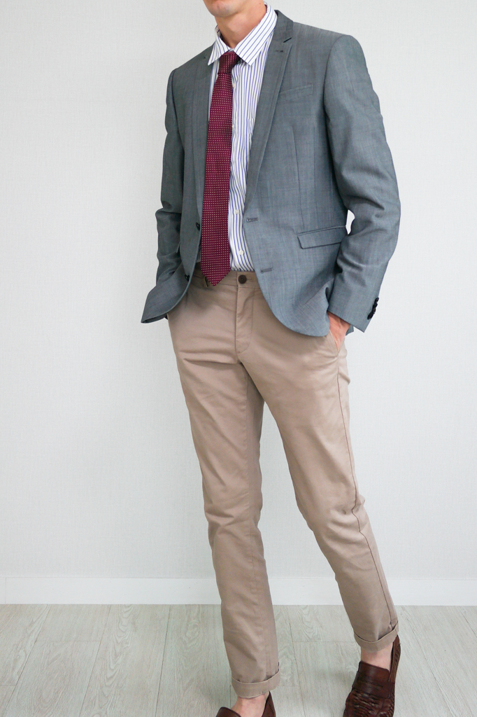 Gray Blazer Red Tie White Shirt Chinos