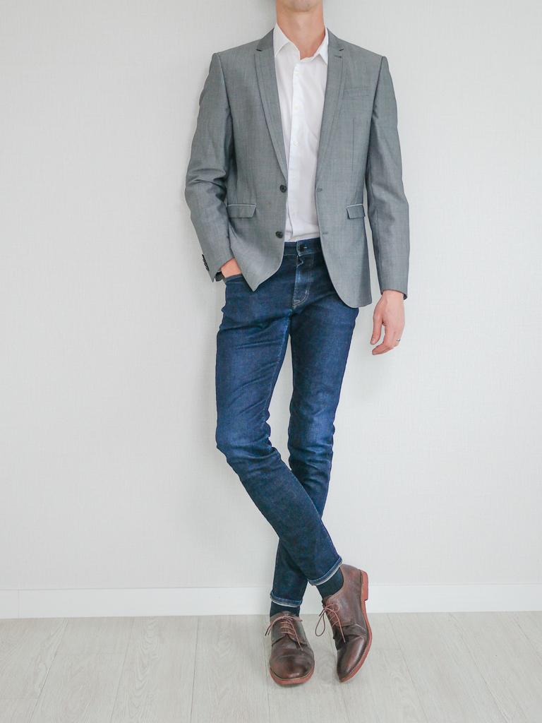 Gray Blazer White Shirt Indigo Jeans Brown Shoes