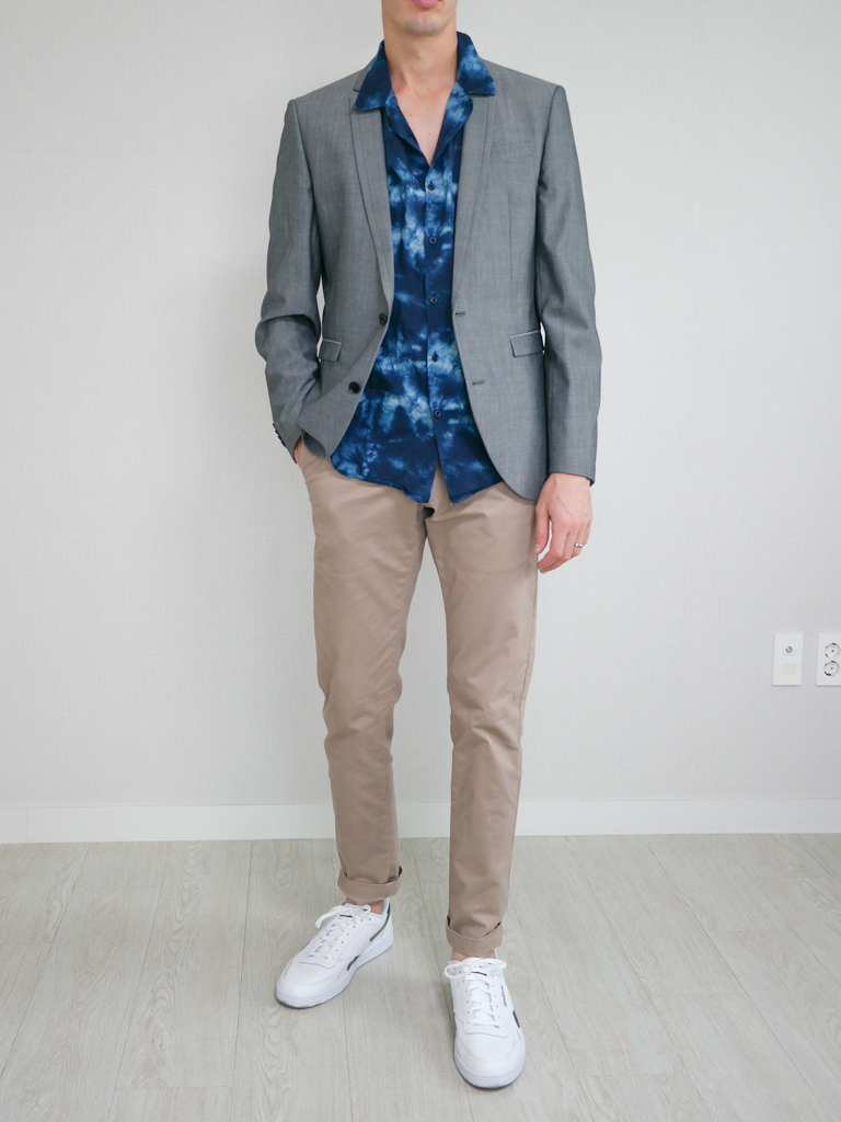 Gray Blazer Casual Shirt Chinos