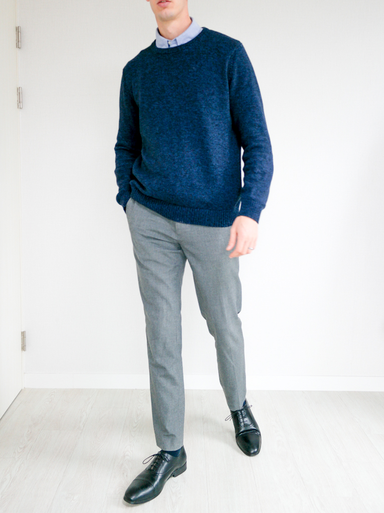 Navy Sweater Gray Jeans Black Shoes